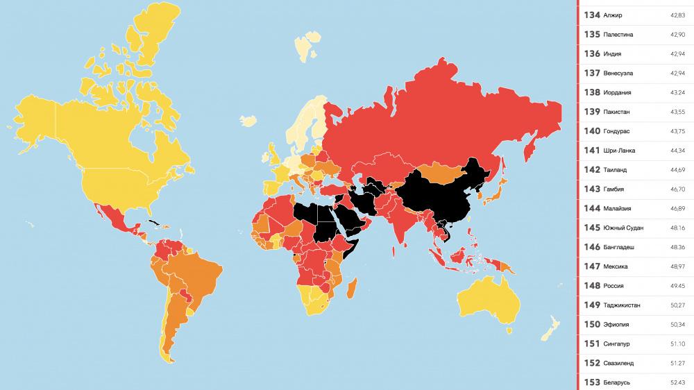 Карта свободы прессы - 2017
