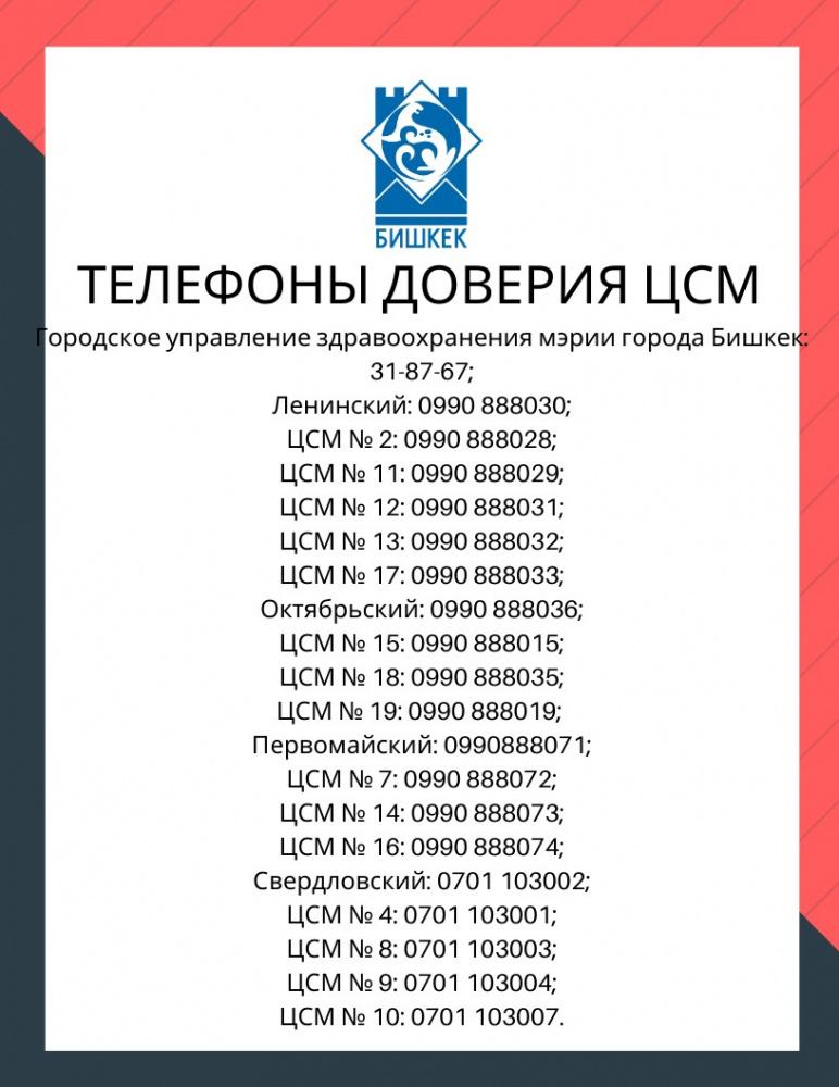 """""""Не занимайтесь самолечением!"""" Мэрия Бишкека дала телефоны доверия врачей ЦСМ"""