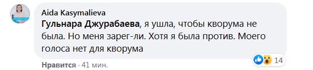 Аида Касымалиева покинула заседание ЖК, чтобы не было кворума. Но вместо нее проголосовали