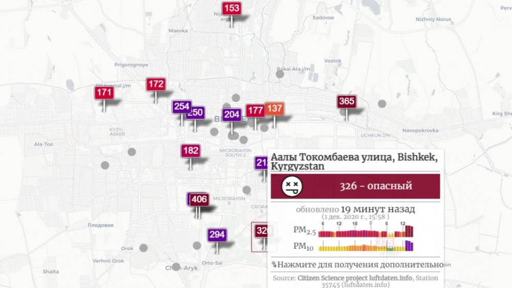"""""""Опасно"""". Бишкек вышел в лидеры по загрязненности воздуха в мире"""
